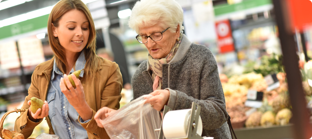 caregiver helping her patients to go shopping