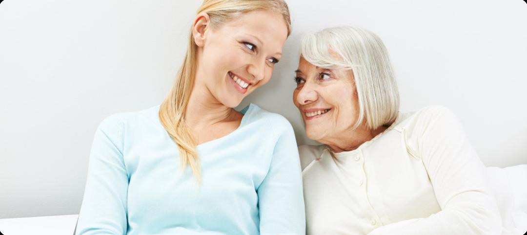happy grandma and caregiver